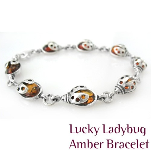 Lucky Ladybug in Honey Amber Bracelet