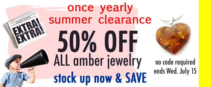 50 percent off sitewide amber jewelry SALE