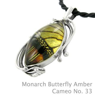 Monarch butterfly amber cameo